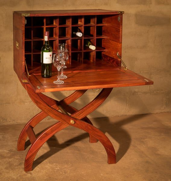 Field Wine Cabinet with fold down door serving tray