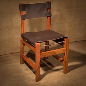 Okavango Leather chair with stylish designs in African Hardwood. Without armrests.