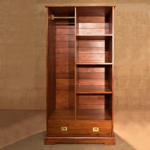 Camp Wardrobe in solid Rhodesian teak ideal storage and hanging space with solid brass fittings