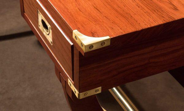 Kalahari-Campaign-Desk-solid-brass-corner-detail
