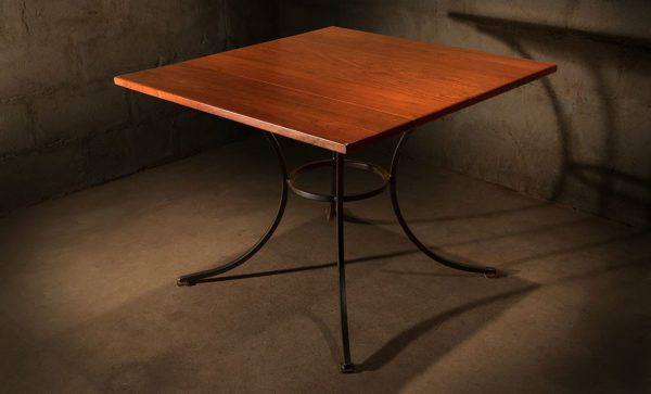 Square-wrought-iron-restaurant-table-solid-hardwood-top