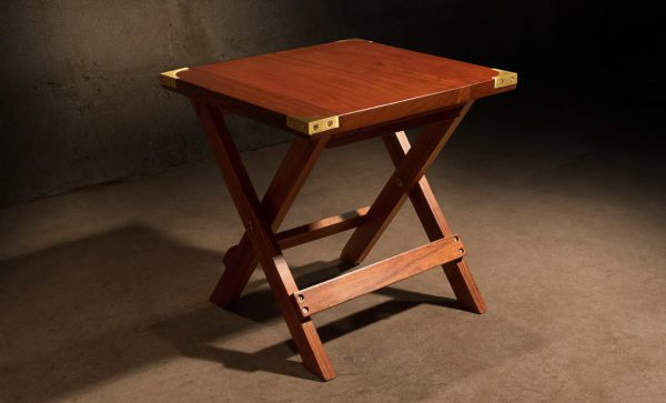 Campaign-Side-Table-with-fixed-top-solid-brass-corners