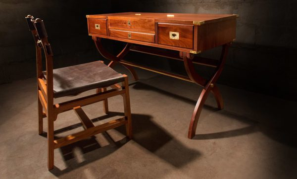 Campaign-Officers-Desk-mahogany-with-leather-Okavango-chair