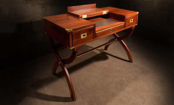 Campaign Officers-Desk-in-mahogany-writing-top-open