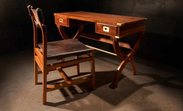 Kalahari Campaign Desk African Mahogany Wood